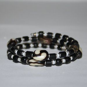 Beautiful black and white coil wire bracelet